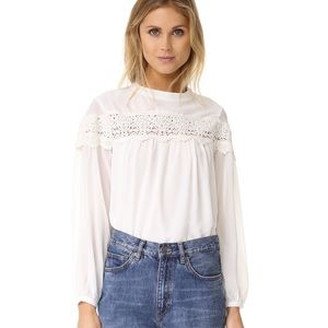 ASOS WHITE LONG SLEEVE BOHO BLOUSE LACE DETAIL